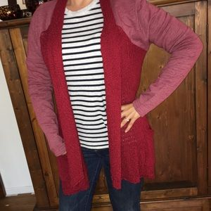 Lucky brand red open waterfall cardigan sweater XL